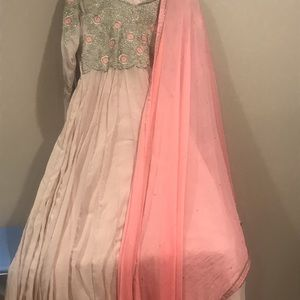 3 pieces silk Indian long gown